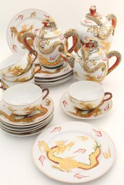 vintage Japan dragonware china tea set, lithophane porcelain cups, plates, dragon teapot