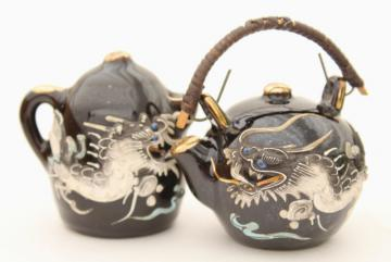 vintage Japan dragonware moriage china salt and pepper shakers tea & coffee pot S&P