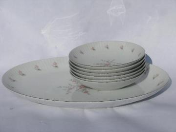 vintage Japan fine china, American Queen porcelain, Christine soup bowls & platter