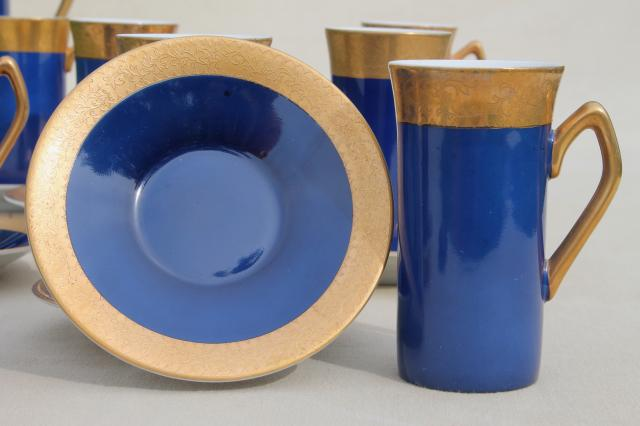 vintage Japan fine china espresso set, coffee pot & tall cups in cobalt blue w/ gold
