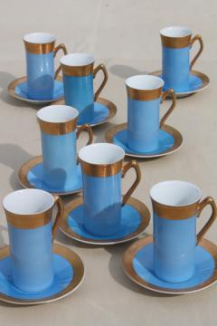 vintage Japan fine china tall espresso coffee cups & saucers, sky blue w/ gold
