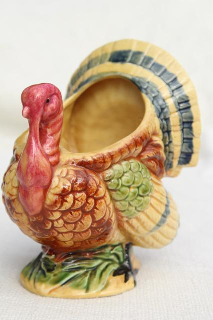 vintage Japan hand painted ceramic planter, Thanksgiving tom turkey holiday table decor