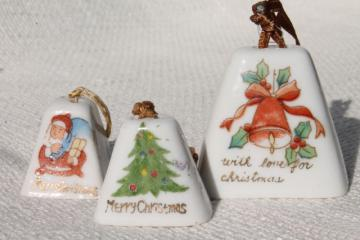 vintage Japan hand painted china Christmas ornaments, mini porcelain bells for holiday decoration