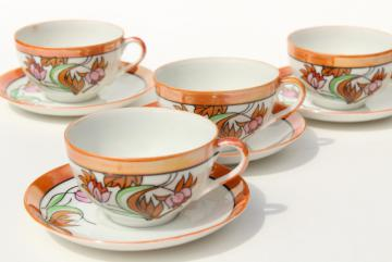 vintage Japan hand painted china tea cups & saucers, art deco style floral orange luster