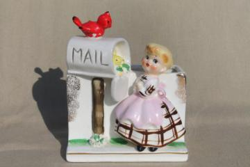 vintage Japan hand-painted ceramic planter, little girl & birds at the mail box