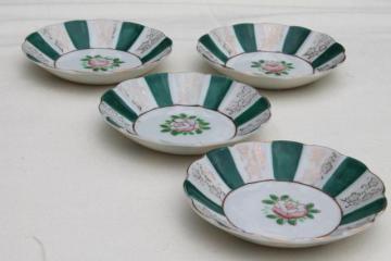vintage Japan hand-painted china fruit bowls, camellia tea flower or rose