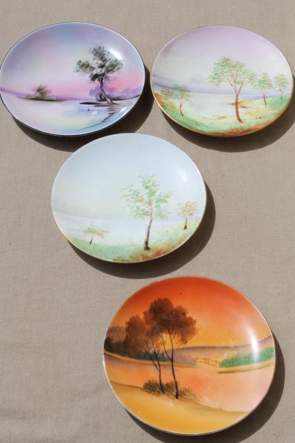 Vintage Japan Hand Painted China Plates Tree On Lake
