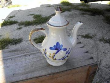 vintage Japan hand-painted coffee pot, cobalt blue on natural stoneware