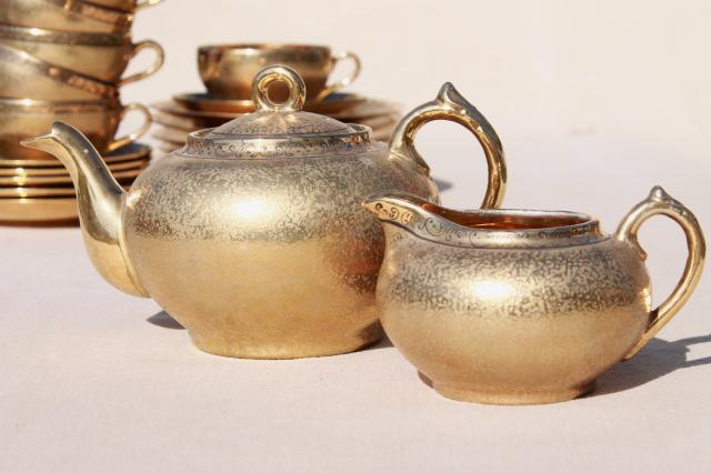 vintage Japan hand-painted encrusted gold porcelain tea set, pot, cups & saucers, plates