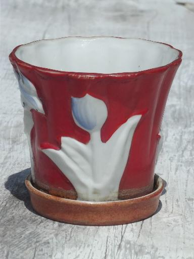 vintage Japan hand-painted tulip & bluebird china flower pot planter