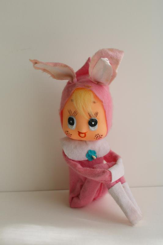 vintage Japan knee hugger pixie girl, pink Easter bunny holiday elf ornament