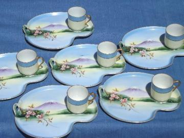 vintage Japan lithophane porcelain snack sets, Mt Fuji tea cups and plates