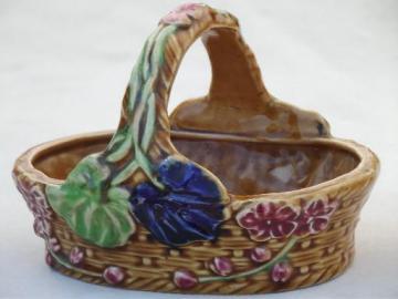vintage Japan majolica style pottery, African violet planter basket