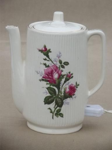 Vintage Japan Moss Rose China Electric Teapot 2 3 Cup Pot