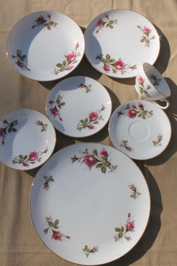 Vintage Japan Moss Rose China Pink Roses Porcelain