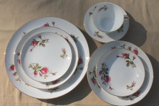 Vintage Japan Moss Rose China Pink Roses Porcelain Dinnerware Set For 12