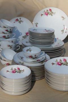 vintage Japan moss rose china, pink roses porcelain dinnerware set for 12