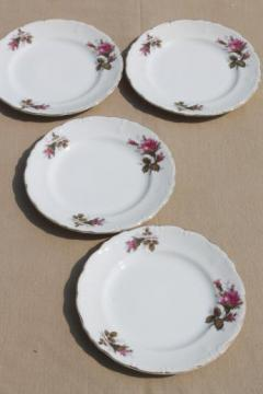 vintage Japan moss rose china plates, tea service cake plates set of four