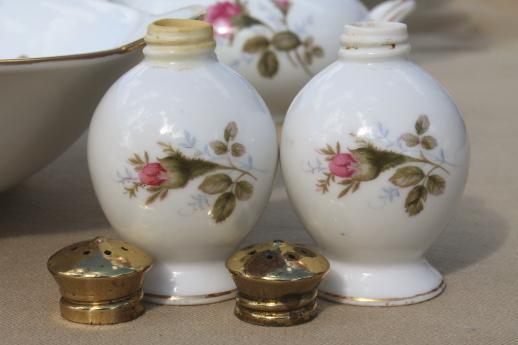 Vintage Japan Moss Rose China Serving Pieces Pink Roses