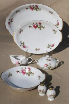 vintage Japan moss rose china serving pieces, pink roses porcelain turkey platter etc.