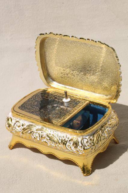 Vintage Japan Music Box Plays Memory Ornate Metal Trinket