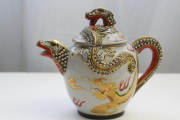 vintage Japan or Nippon figural dragon ware china teapot, hand painted gold moriage