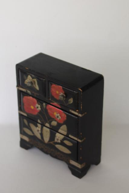 vintage Japan painted lacquerware wood jewelry box or miniature doll size dresser
