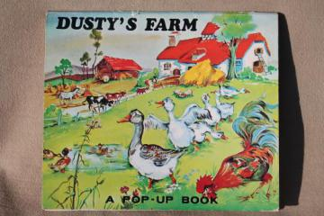 vintage Japan paper die-cut pop up book, Dusty's Farm animal picture book