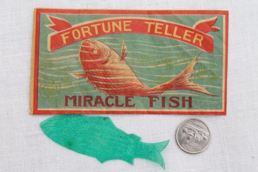 vintage Japan paper novelty, Miracle Fish fortune telling party game toy