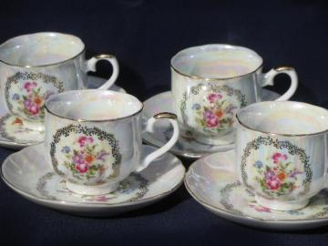 vintage Japan pearl luster china cups and saucers, bouquet of flowers