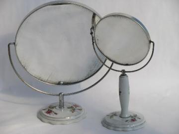 vintage Japan pink roses china vanity magnifying mirrors