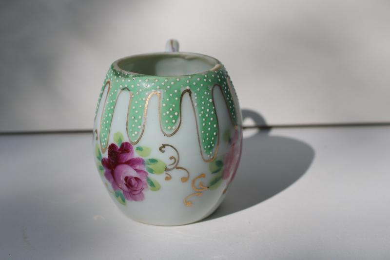 vintage Japan porcelain Easter egg shaped cup, hand painted flowers & moriage