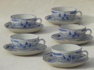 vintage Japan porcelain cups & saucers, Kate Greenaway scenes blue & white china