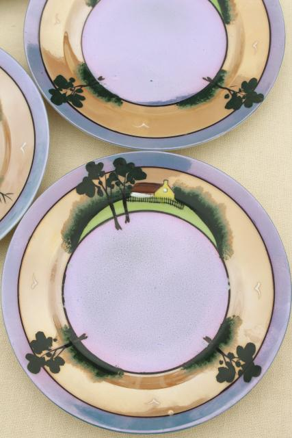 vintage Japan porcelain tea cups & saucers, plates, cream & sugar set, hand painted cottage ware