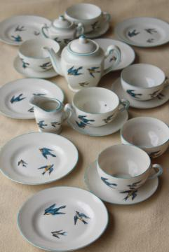 vintage Japan porcelain tea set, child's size toy dishes hand painted bluebird china