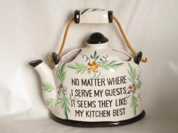 vintage Japan pottery tea kettle wall pocket plaque, kitchen motto