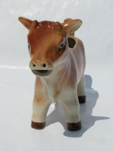 vintage Japan, rare brown swiss or jersey cow creamer, figural cream pitcher