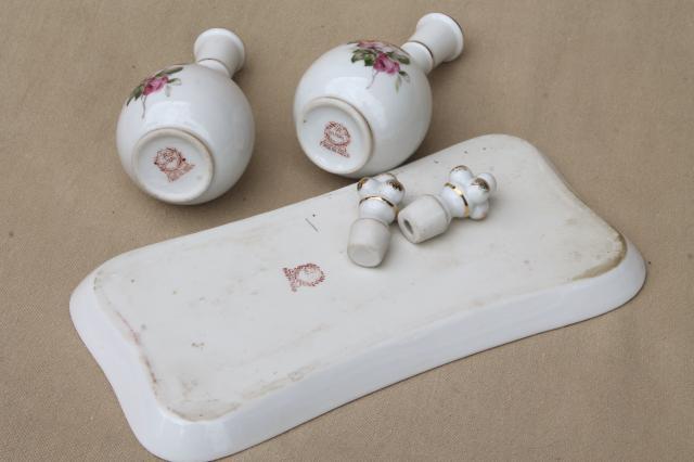 Vintage Japan Rose Porcelain Vanity Table Set China