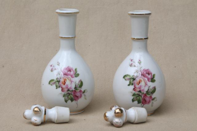 Vintage Japan Rose Porcelain Vanity Table Set China