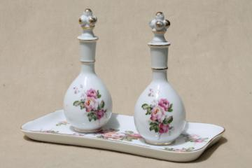 vintage Japan rose porcelain vanity table set, china dresser tray & perfume scent bottles