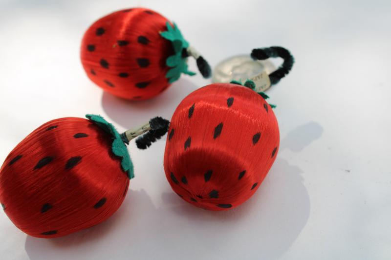 vintage Japan satin ball strawberries, 1950s Christmas ornaments w/ chenille stems