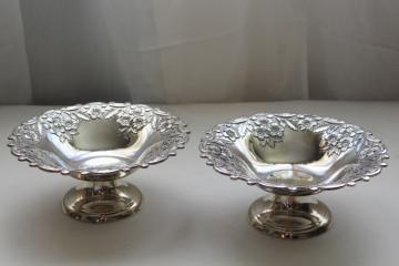 vintage Japan silver plated bonbon bowls, pair of candy dishes w/ ornate floral pattern