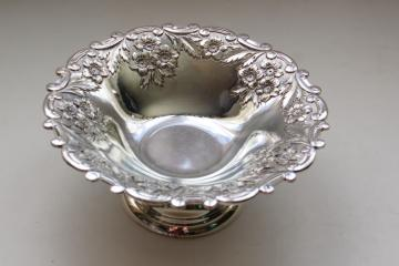 vintage Japan silver plated bonbon plate, candy dish w/ ornate floral pattern