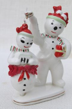vintage Japan snowmen, Christmas snowman china figurine holds pirouette dancer girl