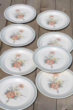 vintage Japan stoneware, Country Glen Sunny Meadows floral dinner plates