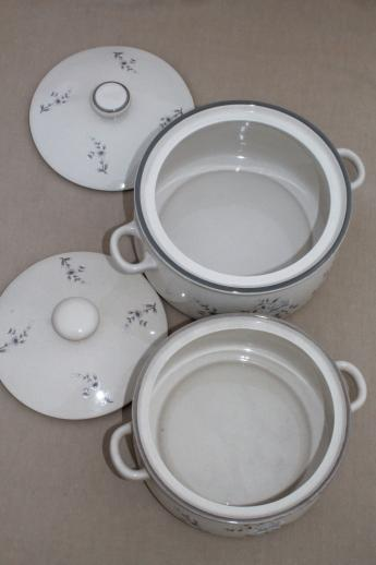 vintage Japan stoneware baking dishes / serving pieces lot, Southampton grey floral