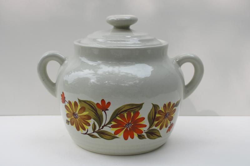 vintage Japan stoneware bean pot Capri JMP, fall flowers ceramic cookie jar