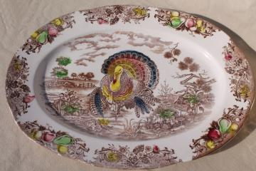 vintage Japan transferware china turkey platter, Thanksgiving tom turkey pattern