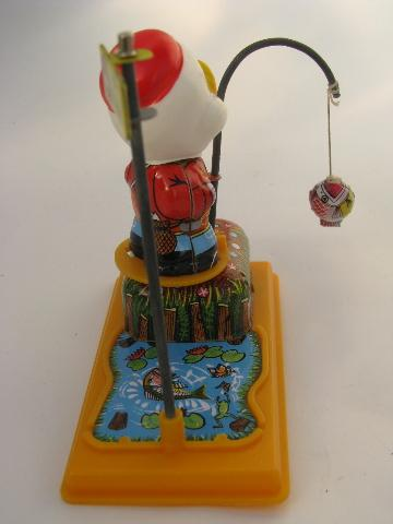 vintage Japan wind-up tin litho toy in box, mechanical fishing duck