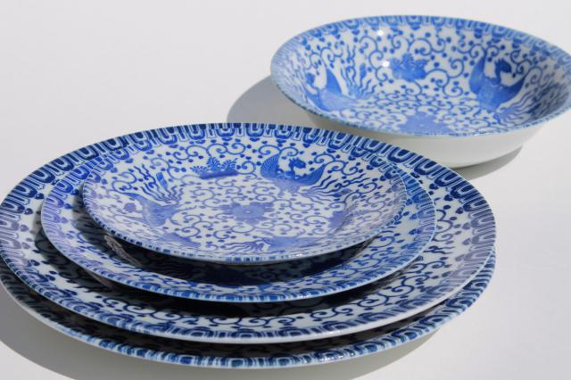 vintage Japanese blue \u0026 white china Phoenix ware birds pattern dishes plates \u0026 bowl : blue and white dinnerware - pezcame.com